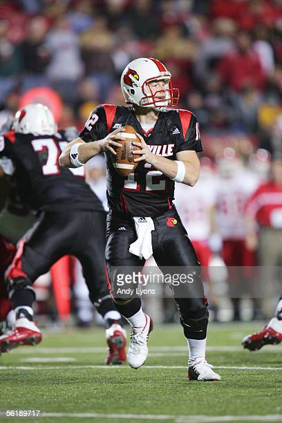 Quarterback Brian Brohm of the Louisville Cardinals drops back to pass against the Rutgers Scarlet Knights at Papa John's Cardinal Stadium on...