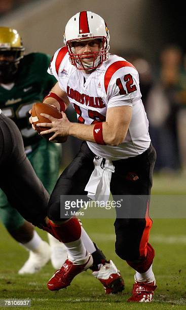 Quarterback Brian Brohm of the Louisville Cardinals looks to hand the ball off during the game against the South Florida Bulls on November 17 2007 at...