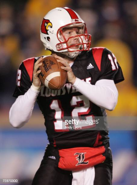 Quarterback Brian Brohm of the Louisville Cardinals looks to pass against the West Virginia Mountaineers November 2 20006 at Papa John's Cardinal...