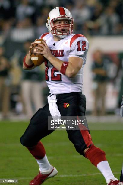Quarterback Brian Brohm of the Louisville Cardinals sets to pass against the University of South Florida Bulls at Raymond James Stadium on November...