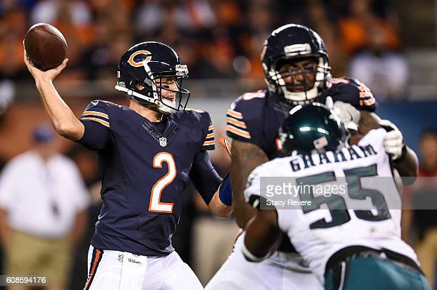 Quarterback Brian Hoyer of the Chicago Bears looks to pass in the second half against the Philadelphia Eagles at Soldier Field on September 19 2016...