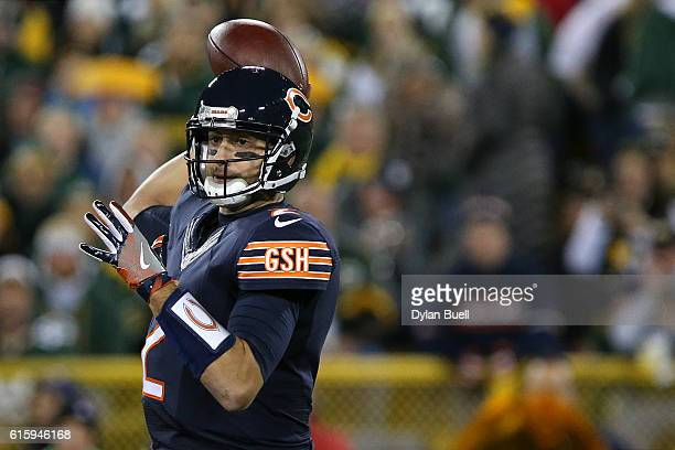Quarterback Brian Hoyer of the Chicago Bears passes the ball against the Green Bay Packers in the second quarter at Lambeau Field on October 20 2016...