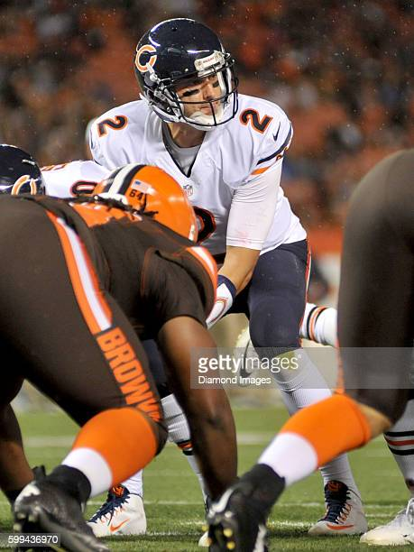 Quarterback Brian Hoyer of the Chicago Bears takes a snap under center during a preseason game against the Cleveland Browns on September 1 2016 at...