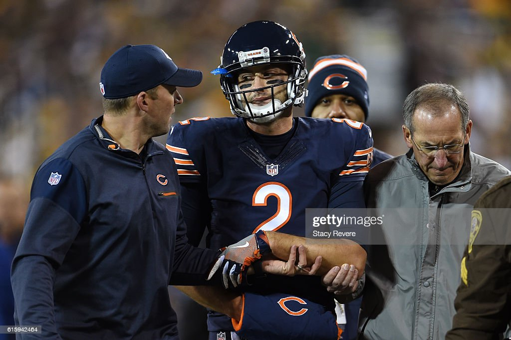Quarterback Brian Hoyer #2 of the Chicago Bears walks off of the field after being injured in the second quarter against the Green Bay Packers at Lambeau Field on October 20, 2016 in Green Bay, Wisconsin.