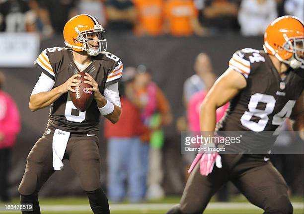Quarterback Brian Hoyer of the Cleveland Browns drops back to pass during a game against the Buffalo Bills at FirstEnergy Stadium in Cleveland Ohio...