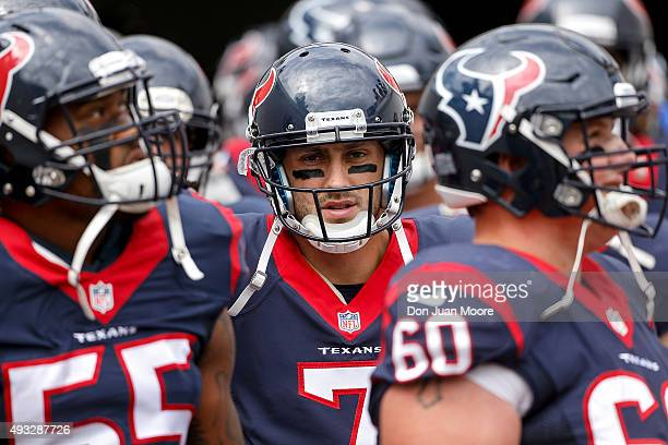 Quarterback Brian Hoyer of the Houston Texans before the game in the tunnel against the Jacksonville Jaguars at EverBank Field on October 18 2015 in...