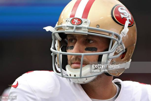 Quarterback Brian Hoyer of the San Francisco 49ers looks on against the Washington Redskins during the first quarter at FedExField on October 15 2017...