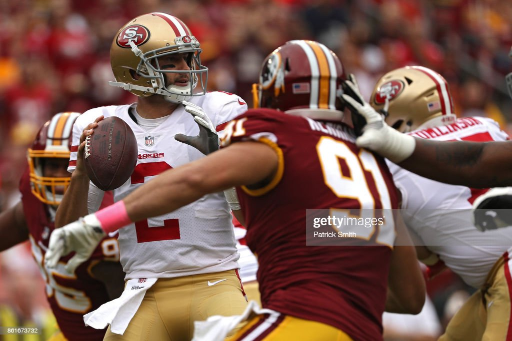 Quarterback Brian Hoyer #2 of the San Francisco 49ers looks to pass against the Washington Redskins during the first half at FedExField on October 15, 2017 in Landover, Maryland.
