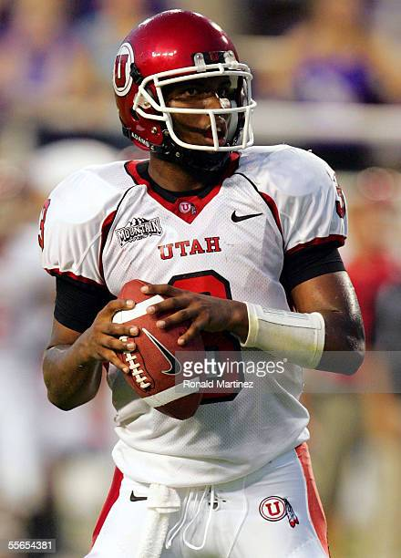Quarterback Brian Johnson of the Utah Utes drops back to pass against the Texas Christian University Horned Frogs on September 15, 2005 at Amon...