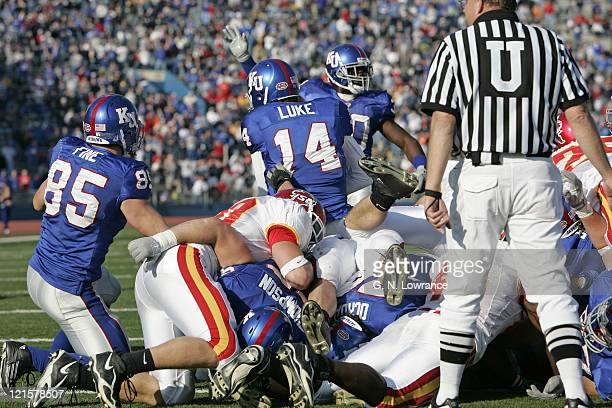 Quarterback Brian Luke of the Kansas Jayhawks dives into the end zone during 4th-quarter action against the Iowa State Cyclones at Memorial Stadium...