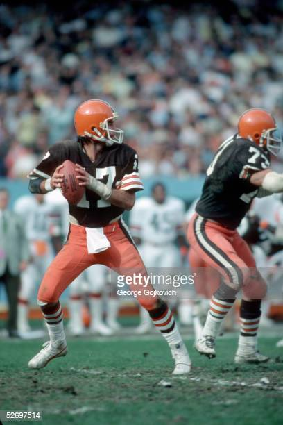 Quarterback Brian Sipe of the Cleveland Browns drops back to pass during a game at Municipal Stadium in October 1979 in Cleveland Ohio