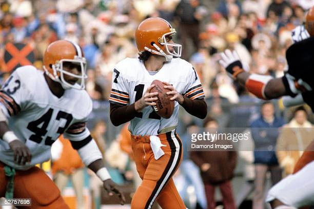 Quarterback Brian Sipe of the Cleveland Browns drops back to pass during a game on December 16 1979 against the Cincinnati Bengals at Riverfront...
