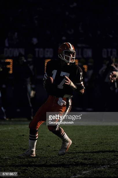 Quarterback Brian Sipe of the Cleveland Browns drops back to pass during a game at Municipal Stadium in November 1979 in Cleveland Ohio