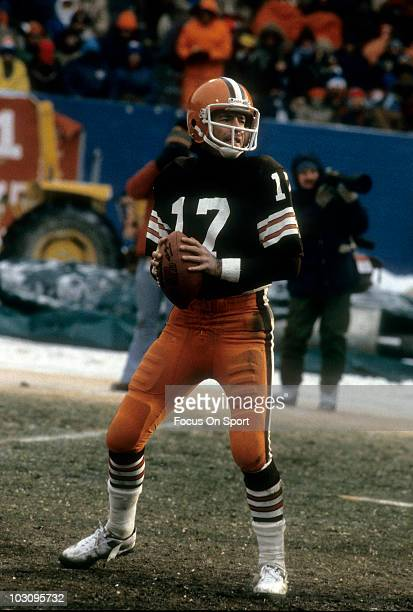 Quarterback Brian Sipe of the Cleveland Browns drops back to pass circa 1981 during an NFL football game at Cleveland Municipal Stadium in Cleveland...