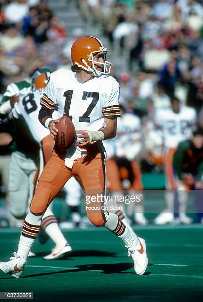 Quarterback Brian Sipe of the Cleveland Browns drops back to pass against the Philadelphia Eagles during an NFL football game November 4 1979 at...