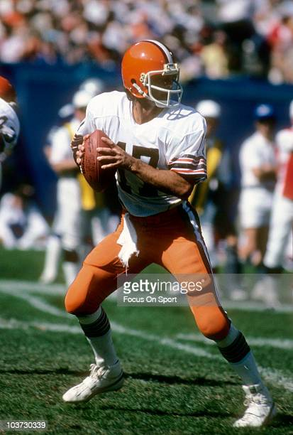Quarterback Brian Sipe of the Cleveland Browns drops back to pass circa 1980 during an NFL football game at Cleveland Municipal Stadium in Cleveland...