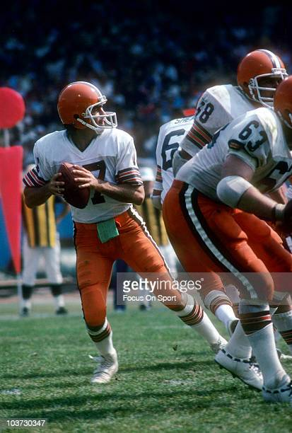 Quarterback Brian Sipe of the Cleveland Browns drops back to pass circa 1978 during an NFL football game at Cleveland Municipal Stadium in Cleveland...