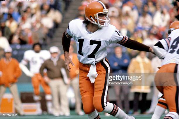 Quarterback Brian Sipe of the Cleveland Browns hands the ball off during a game on December 16 1979 against the Cincinnati Bengals at Riverfront...