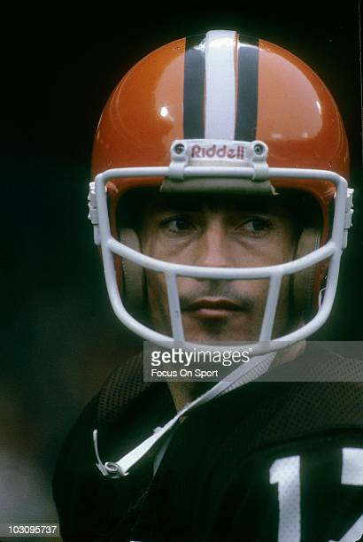 Quarterback Brian Sipe of the Cleveland Browns in this portrait watching the action from the sidellnes circa 1981 during an NFL football game at...