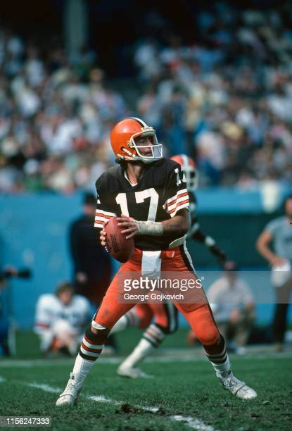 Quarterback Brian Sipe of the Cleveland Browns looks to pass during a National Football League game at Cleveland Municipal Stadium in 1979 in...