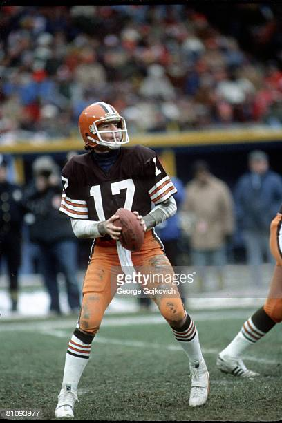 Quarterback Brian Sipe of the Cleveland Browns looks to pass during a game at Municipal Stadium in December 1981 in Cleveland Ohio