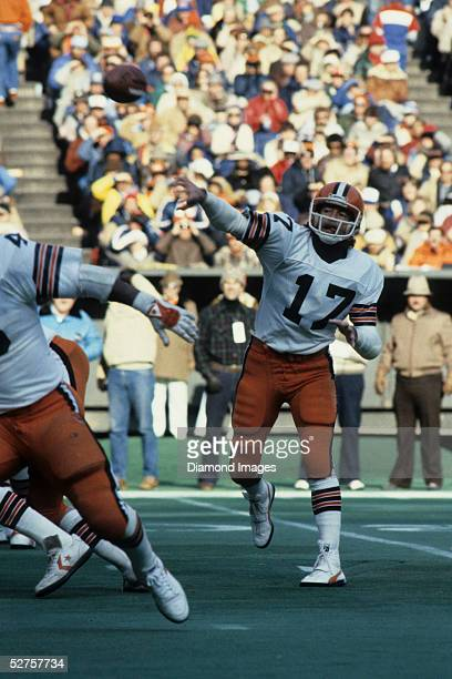 Quarterback Brian Sipe of the Cleveland Browns passes the ball during a game on December 12 1982 against the Cincinnati Bengals at Riverfront Stadium...