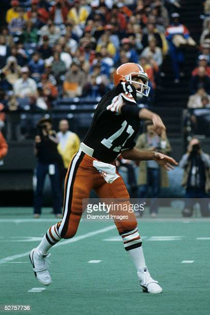 Quarterback Brian Sipe of the Cleveland Browns passes the ball during a game on October 23 1983 against the Cincinnati Bengals at Riverfront Stadium...