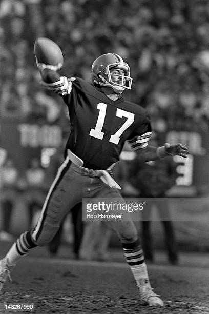Quarterback Brian Sipe of the Cleveland Browns throws a pass against the Miami Dolphins on November 18 at the Orange Bowl in Miami Florida