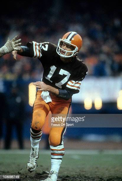 Quarterback Brian Sipe of the Cleveland Browns throws a pass circa 1981 during an NFL football game at Cleveland Municipal Stadium in Cleveland Ohio...