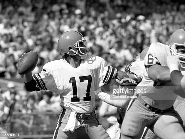 Quarterback Brian Sipe of the Cleveland Browns throws a pass during a game against the Seattle Seahawks on October 2 1983 at Cleveland Municipal...