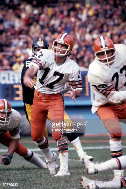 Quarterback Brian Sipe#17 of the Cleveland Browns follows through on a pass during a game on October 15 1978 against the Pittsburgh Steelers at...