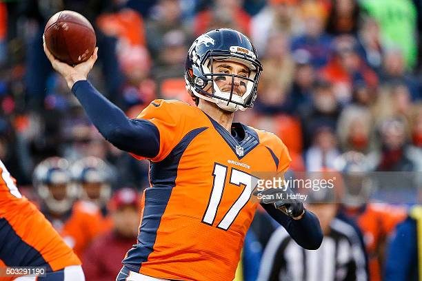 Quarterback Brock Osweiler of the Denver Broncos passes against the San Diego Chargers during the first half of a game at Sports Authority Field at...