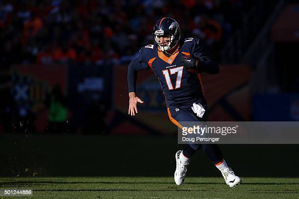 Quarterback Brock Osweiler of the Denver Broncos rushes against the Oakland Raiders during a game at Sports Authority Field at Mile High on December...