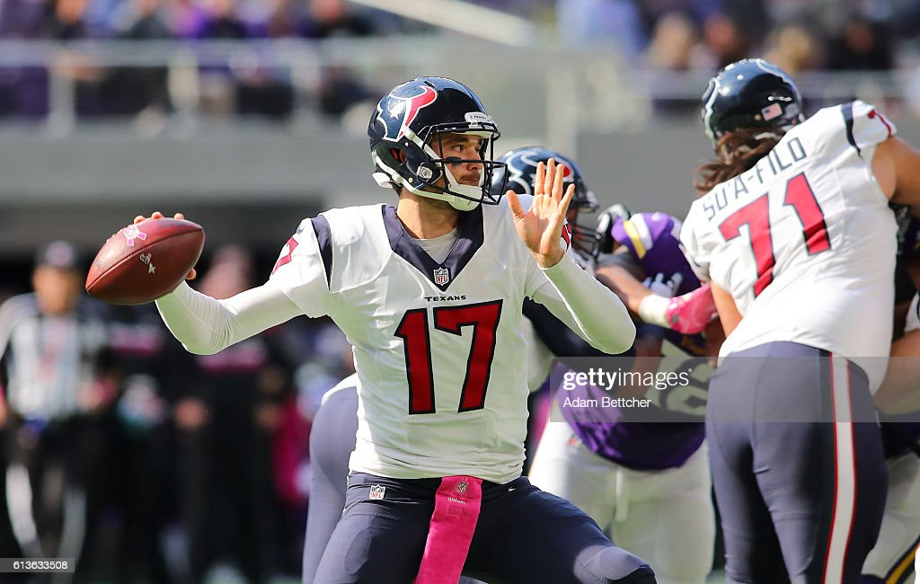 Quarterback Brock Osweiler #17 of the Houston Texans drops back to pass during the second quarter of the game against the Minnesota Vikings on October 9, 2016 at US Bank Stadium in Minneapolis, Minnesota.