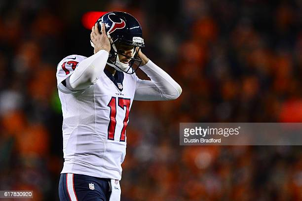 Quarterback Brock Osweiler of the Houston Texans during the game against the Denver Broncos at Sports Authority Field at Mile High on October 24 2016...