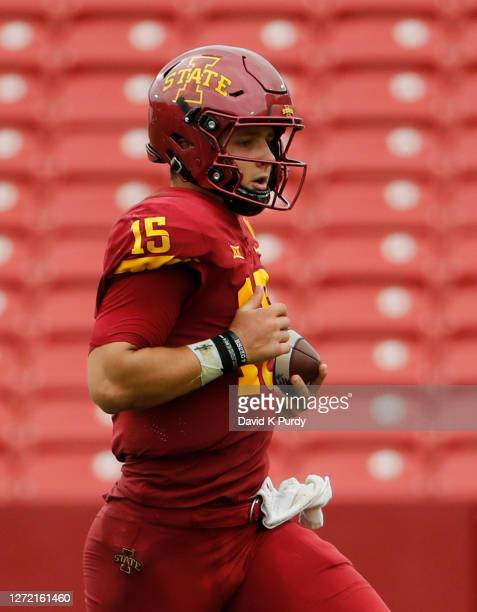 Quarterback Brock Purdy of the Iowa State Cyclones scrambles for yards in the second half half of the play at Jack Trice Stadium on September 12,...