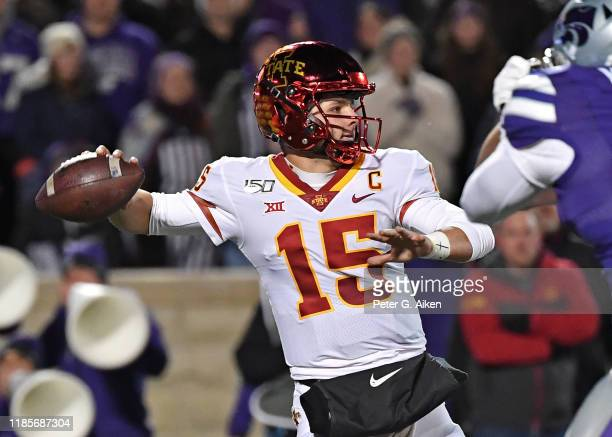Quarterback Brock Purdy of the Iowa State Cyclones throws a pass against the Kansas State Wildcats during the first half at Bill Snyder Family...