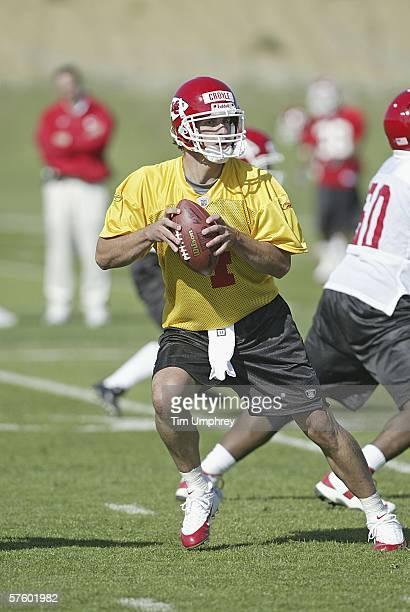 Quarterback Brodie Croyle of the Kansas City Chiefs throws passes during the Kansas City Chiefs Mini-Camp on May 12, 2006 at the Kansas City Chiefs...