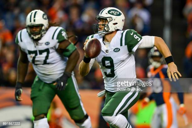 Quarterback Bryce Petty of the New York Jets scrambles against the Denver Broncos at Sports Authority Field at Mile High on December 10 2017 in...