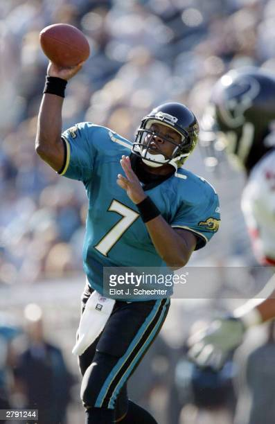 Quarterback Byron Leftwich of the Jacksonville Jagaurs passes against the Houston Texans December 7 2003 at Alltel Stadium in Jacksonville Florida