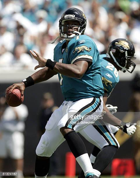 Quarterback Byron Leftwich of the Jacksonville Jaguars passes down field against the Denver Broncos in the first half on September 19 2004 at Alltel...