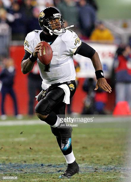 Quarterback Byron Leftwich of the Jacksonville Jaguars scrambles against the New England Patriots during their Wild Card Playoff game on January 7...