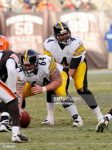 Quarterback Byron Leftwich of the Pittsburgh Steelers waits for the ball to be snapped by center Doug Legursky during a game with the Cleveland...