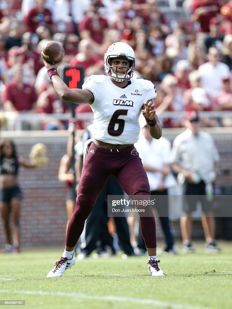 Quarterback Caleb Evans #6 of the Louisiana Monroe Warhawks on a pass play during the game against the Florida State Seminoles at Doak Campbell Stadium on Bobby Bowden Field on December 2, 2017 in Tallahassee, Florida. Florida State defeated Louisiana Monroe 42 to 10.