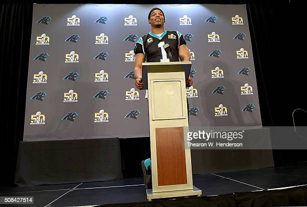Quarterback Cam Newton of the Carolina Panther addresses the media during media availability prior to Super Bowl 50 at the San Jose Convention...