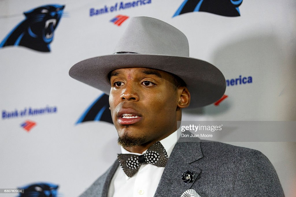 Quarterback Cam Newton #1 of the Carolina Panthers answer questions from the media after the game against the Tampa Bay Buccaneers at Raymond James Stadium on January 1, 2017 in Tampa, Florida. The Buccaneers defeated the Panthers 17-16.