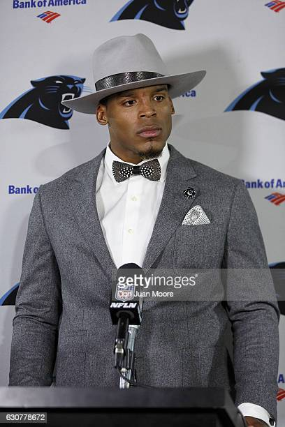 Quarterback Cam Newton of the Carolina Panthers answers questions from the media after the game against the Tampa Bay Buccaneers at Raymond James...