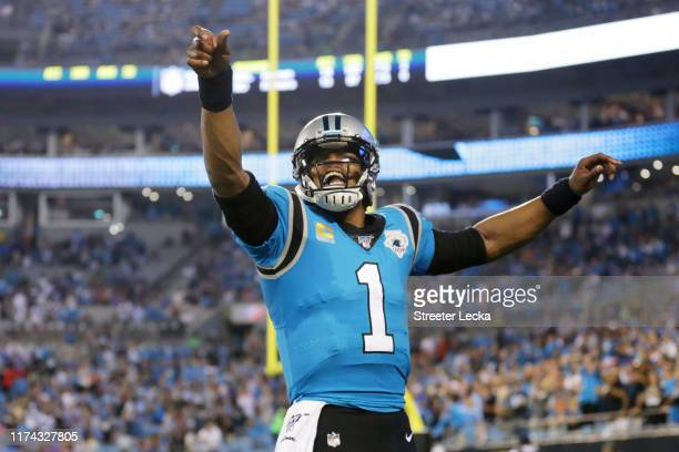 Quarterback Cam Newton of the Carolina Panthers reacts in the first quarter of the game against the Tampa Bay Buccaneers at Bank of America Stadium...