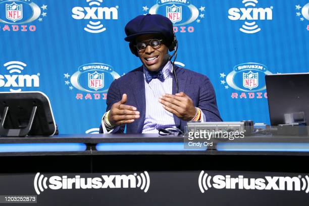NFL quarterback Cam Newton of the Carolina Panthers speaks onstage during day 3 of SiriusXM at Super Bowl LIV on January 31 2020 in Miami Florida