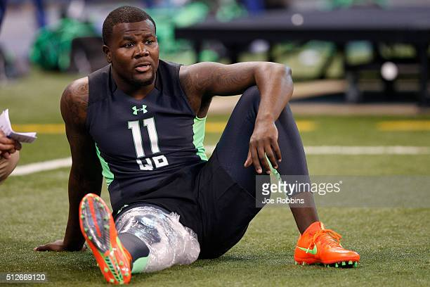 Quarterback Cardale Jones of Ohio State sits out with an injury during the 2016 NFL Scouting Combine at Lucas Oil Stadium on February 27, 2016 in...
